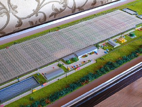 The maquette of the greenhouse complex Agropark