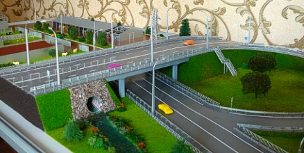The breadboard model of the road and the farm layout are made in realistic form