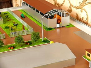 Lamps on the farm layout are made according to the drawings of the manufacturer
