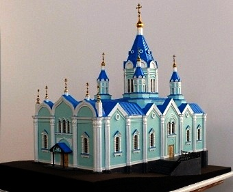 Scale model of the temple of the Nativity of the MostHoly mother of God in the Kursk Root Hermitage