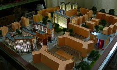 A scale model of the area of the city